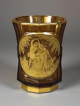 A German Amber Glass Vase. The waisted six-sided