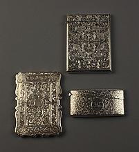 Three Fine Engraved Silver Card Cases: Two