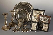 A Collection of Silver & White Metal: A pair of