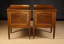 A Pair of Inlaid Mahogany Bedside Cabinets. The