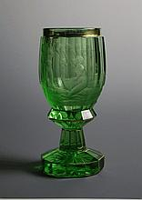 A Bohemian Cut & Etched Emerald Glass Goblet Vase