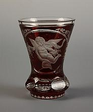 A Decorative Ruby & Clear Glass Vase carved with