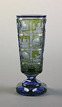 A Bohemian Blue & Yellow Flashed Cut Glass Vase.