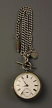 A Gentleman's Silver Pocket Watch and Albert. The