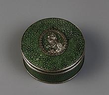 A Circular Shagreen Snuff Box with Decorative