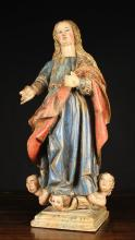An 18th Century Spanish Polychromed Wood Carving of The Immaculate Conception, 26 ins (66 cms) in height.