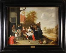 Follower of David Teniers The Younger. A Fine Oil on Canvas depicting a Social Gathering eating outside an Inn.  26½ ins x 35 ins (67 cms x 89 cms), in a deep moulded black frame with painted plaque inscribed 'David Tenniers B 1610 - D 1694'. The frame measuring 37 ins x 45½ ins (94 cms x 116 cms). [From the Collection of Comtesse de Nesselrode (Moscow), sold by Christies for 30 guineas; Lot 55, 9th March 1934; D. Teniers 'The Prodigal Feasting].
