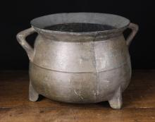 A Large Late 17th Century Bronze Cauldron with scratch mark for John Kemp Foundry, Ticehurst, East Sussex, 12½ ins (32 cms) high, 15¾ ins (40 cms) in diameter.