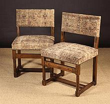 A Pair of 18th Century Walnut Side Chairs. The low