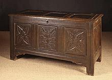 A Good 17th Century Oak Coffer. The triple panel