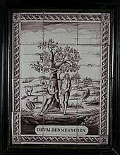 A Charming 18th Century Glazed Manganese Panel