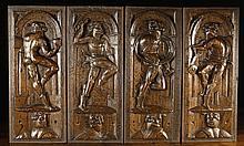 A Fine Set of Four 16th Century Oak Panels; each