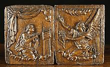 A Pair of 17th Century Relief Carved Oak Panels