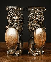 A Pair of Magnificent 16th Century Oak Posts
