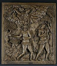 An Early 16th Century Oak Panel carved in relief