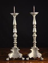 A Pair of Pewter Pricket Candlesticks Circa 1700.
