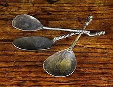 Three 15th Century Apostle Spoons, 5½ ins (14 cms)