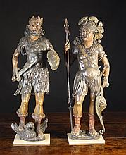 A Pair of Fine 17th Century Polychromed Wood