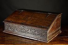 A 17th Century Boarded Oak Desk Box. The sloped