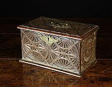 A Small 18th Century Boarded Oak Box of