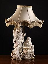 A Blanc-de-Chine Figure Group converted to a lamp.