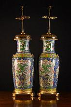 A Pair of Large Cantonese Vase Lamps painted in po