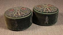 A Pair of Round Upholstered Velvet Kneelers appliq