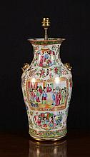 A Late 19th Century Cantonese Converted Lamp Vase