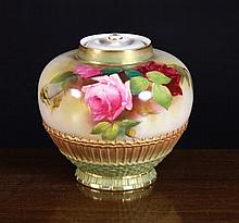 A Royal Worcester Jar & Cover dated 1909.  The bul