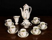 A Royal Doulton Art Deco Coffee Set decorated with