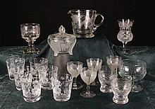 A Collection of Cut & Etched Glassware to include