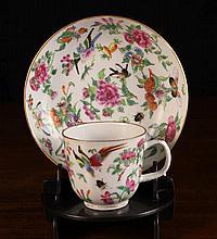 A Pretty Mid 19th Century Cantonese Tea Cup & Sauc