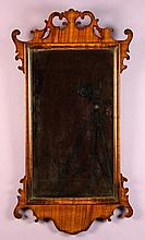 A Georgian Style Mahogany Wall Mirror.  The rectan
