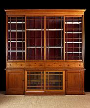 A Large Late 19th Century Glazed Oak Library Bookc