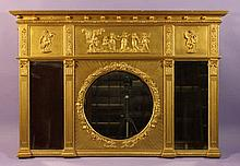A 19th Century Overmantel Mirror with Neo-Classica
