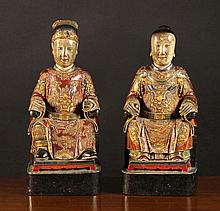 A Pair of 19th Century Chinese Polychromed Wooden