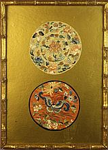 Two Framed Pairs of Antique Silk Embroidered Round