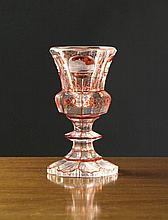 A Bohemian Facet Cut Goblet with Ruby Flashed Roun