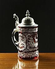 A Bohemian Ruby Flashed Glass Stein with a hinged