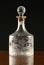 An Engraved Clear Glass Decanter with facet cut st