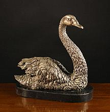 A White Metal Model of a Swan cast in detail and m