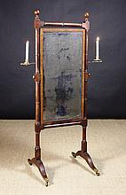 A Regency Mahogany Cheval Mirror.  The rectangular