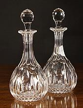 A Pair of Cut Crystal Mallet Shaped Decanters with