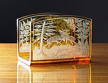A Bohemian Amber Flashed Glass Desk Piece/Letter R