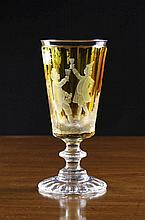 A Bohemian Amber Flashed Cut Glass Goblet. The tap