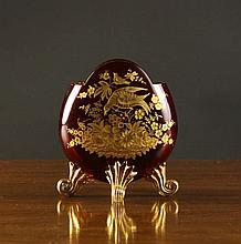 A Bohemian Ruby Flashed Vase of flattened oval for