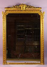 A 19th Century Gilt Overmantel Mirror. The gadroon