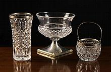 Three Pieces of Russian Silver Mounted Glassware: