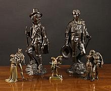 A Group of Five 19th Century Bronzes:  A Matched P