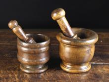 Two 19th Century Turned Treen Pestle & Mortars.